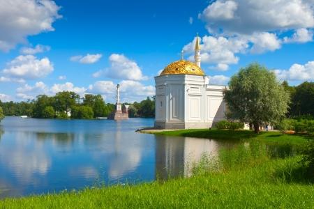 tsarskoye: Turkish bath and Chesme Column  in Catherine Park at Tsarskoye Selo (Pushkin), St. Petersburg, Russia