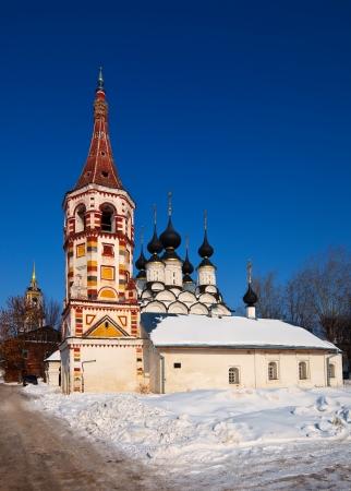build in: Antipievskaya church  (build in 1745)  at Suzdal in winter. Russia Stock Photo