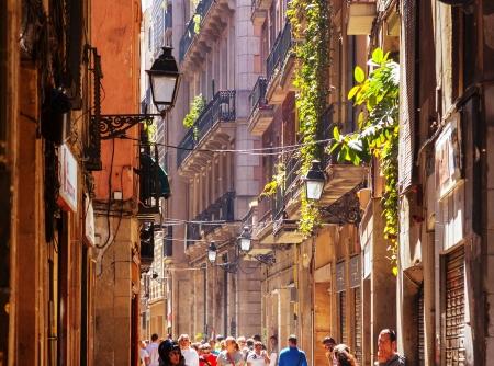 gotico: Barcelona - 14 de abril: la gente caminando en el Barrio G�tico, en 14 de abril 2013 en Barcelona. Es el centro de la ciudad vieja de Barcelona. Centro de la vida tur�stica