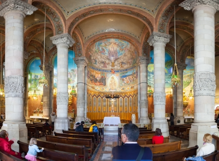 lasted: BARCELONA, SPAIN - MAY 18: Interior of Church of the Sacred Heart in May 18, 2013 in Barcelona, Spain.  ?onstruction of temple dedicated to the Sacred Heart, lasted from 1902 to 1961
