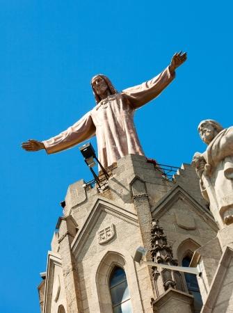 Sculpture of Jesus on  temple of Sagrat Cor at Tibidabo  in Barcelona Stock Photo - 20240347