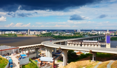 nizhny novgorod: View of Nizhny Novgorod.  Metro Bridge through Oka River. Russia