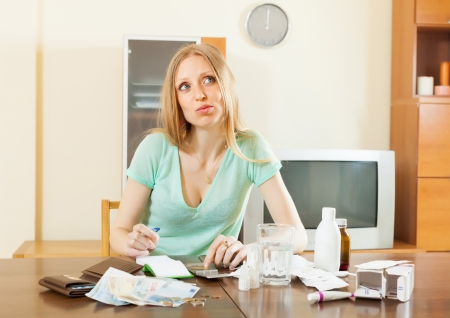 troche: serious sickness  woman with medications  and money at living room