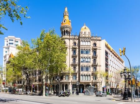 neogothic: BARCELONA, CATALONIA - APRIL 14: Cases Pons in April 14, 2013 in Barcelona, Catalonia. Was built in 1890–1891 by Catalan architect Enric Sagnier, neo-Gothic style, with decoration by Alexandre de Riquer