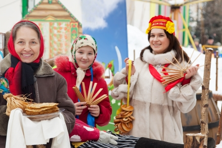 pancake week:  happy women celebrating  Pancake Week at Russia Stock Photo