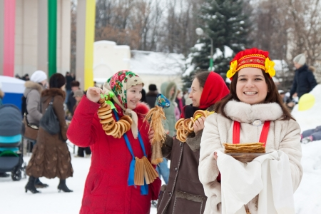sudarium:  happy women celebrating  Shrovetide  at Russia