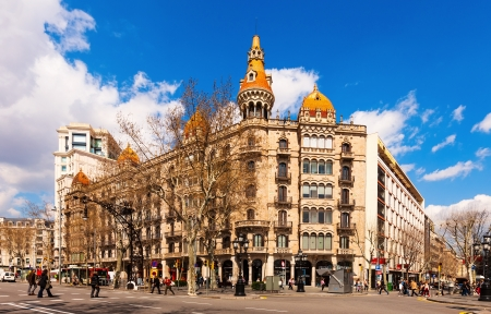 BARCELONA, SPAIN - MARCH 28: Cases Pons in March 28, 2013 in Barcelona, Spain. Was built in 1890–1891 by Enric Sagnier, neo-Gothic in style, with decoration by Alexandre de Riquer