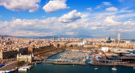 birdview Port Vell of Barcelona in sunny day. Catalonia, Spain photo