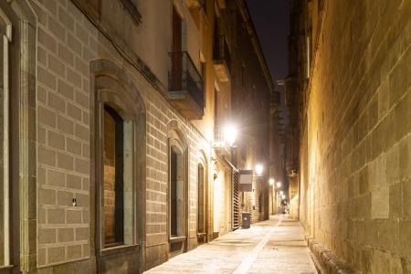 gotico: Vista nocturna de la vieja calle estrecha en el Barrio G�tico. Barcelona, ??Espa�a