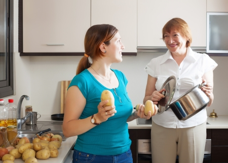 Mature woman and adult daughter cooking lunch in kitchen Stock Photo - 20433442