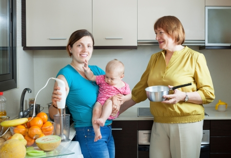 three generations of women: Happy women of three generations with blender in  kitchen