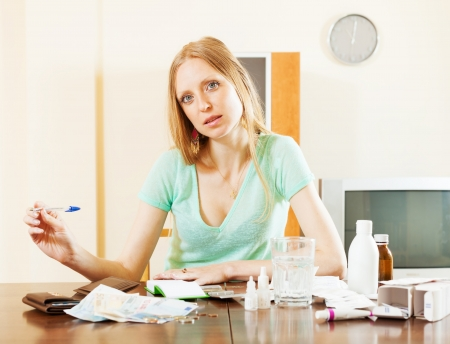 Ordinary  blonde woman with medications and money at table in living room photo