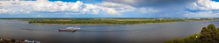 nizhni novgorod: Panoramai view from the steep banks of the Volga in Nizhny Novgorod