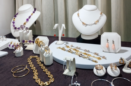 store window: variety jewelry at store window