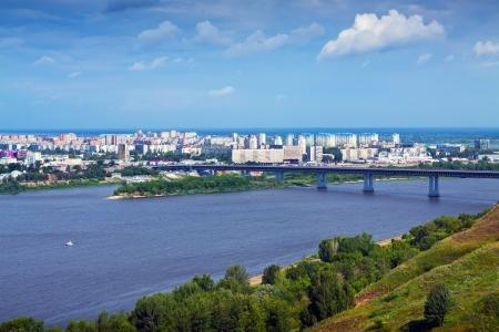 residential settlement: Summer view of Nizhny Novgorod with Oka river. Russia