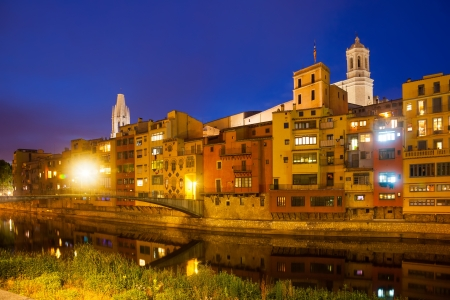 old times: night view of river Onyar and picturesque houses in Girona. Catalonia, Spain  Stock Photo