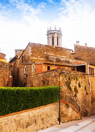 olden day: Old picturesque houses in Catalan town. La Pera, Catalonia