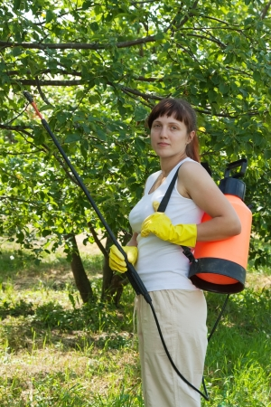 insecticidal: gardener working in   yard with knapsack garden spray  Stock Photo