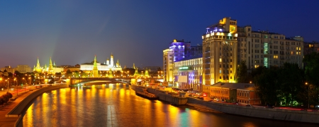 kreml: Kind to the Moscow Kremlin  and   Moskva River in night. Russia Editorial