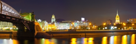 Panoramic view of Moscow. Square of Europe in summer  night photo