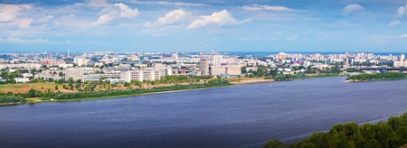 oka: panoramic view of  residential district at Nizhny Novgorod in summer. Russia