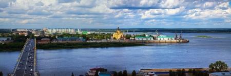 the volga river: View of Nizhny Novgorod. Kanavinsky bridge and Junction of Oka river with Volga River