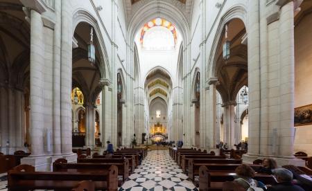 MADRID, SPAIN - APRIL 25: Panoramic view of interior of Almudena Cathedral in April 25, 2013 in Madrid, Spain.  Santa Maria la Real de La Almudena - main church of Spain
