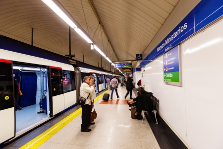 sub station: MADRID, SPAIN - APRIL 26: Interior of metro station Nuevos Ministerios in April 26, 2013 in Madrid, Spain.  Metro began work October 17, 1919. Number of stations - 326