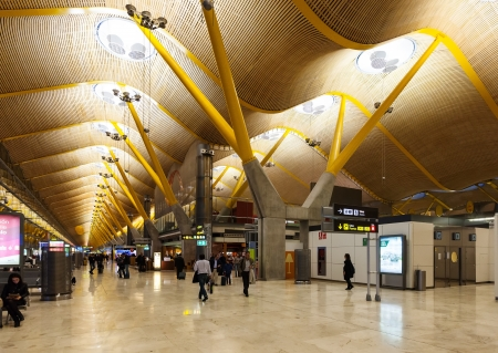 barajas: MADRID, SPAIN - APRIL 26: Interior of Barajas Airport in April 26, 2013 in Madrid, Spain. In 2012 the airport handled 45,195,014 passengers Editorial