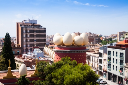 olden day: FIGUERES, CATALONIA - JULY 7: Top view of  Dali Theatre and Museum in Junly 7, 2013 in Figueres, Catalonia.  The museum opened in 1974 and contains the largest collection of works by the artist