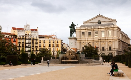 MADRID, SPAIN - APRIL 25: Plaza de Oriente in April 25, 2013 in Madrid, Spain. Square includes an equestrian statue of Felipe IV, established in 1843 Square includes an equestrian statue of Felipe IV, established in 1843