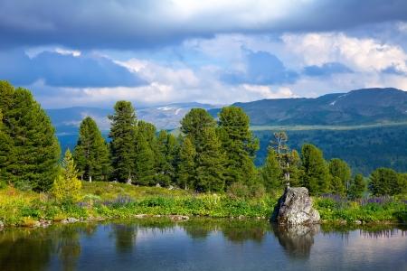 Landscape with mountains lake.   Altai, Suberia Stok Fotoğraf