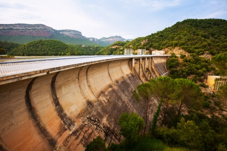 bridge construction: water power plant on Ter river. Sau reservoir, Catalonia  Stock Photo