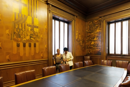 marquetry: BARCELONA, CATALONIA - APRIL 23: Hall Expansion Ciudadana of city hall of Barcelona in April 23, 2013 in Barcelona, Catalonia.  The walls  the hall are covered with wooden marquetry