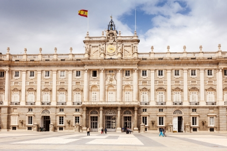 MADRID, SPAIN - APRIL 25: Front view of Royal Palace in April 25, 2013 in Madrid, Spain. Royal Palace of Madrid - is official residence of Spanish Royal Family