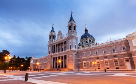 Almudena  cathedral at Madrid  in evening. Spain Stock Photo - 21154954