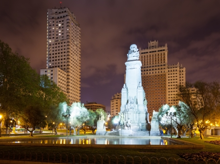 Cervantes Monument in Spain Square at Madrid in night. Spain