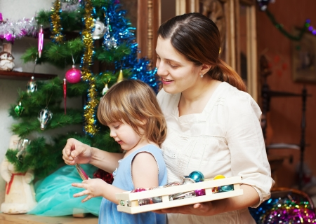 mother and child preparing for  Christmas at home Stock Photo - 21226307