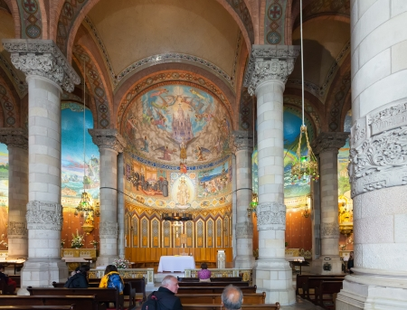 lasted: BARCELONA, SPAIN - MAY 18  Interior of Church of the Sacred Heart of Jesus in May 18, 2013 in Barcelona, Spain  Сonstruction of temple dedicated to the Sacred Heart, lasted from 1902 to 1961