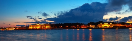 View of St. Petersburg. Vasilyevsky Island in sunset photo