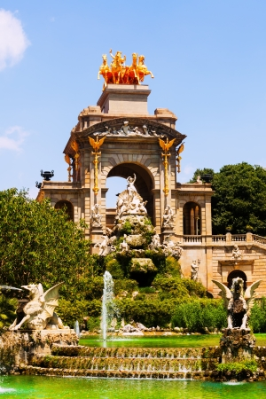 Cascada fountain in Barcelona in sunny day.  Spain