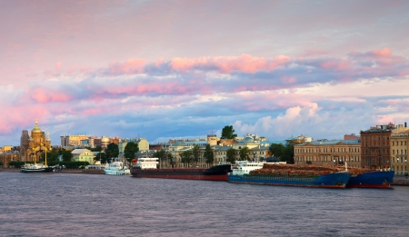 View of St. Petersburg. Vasilyevsky Island in morning photo