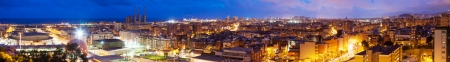 Panoramic night view of Badalona and Barcelona. Catalonia, Spain photo