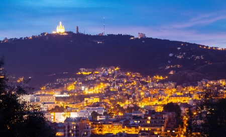 night view of Tibidabo. Barcelona, Spain photo