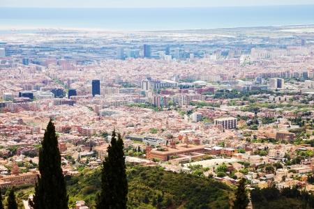 tibidabo: residence district in Barcelona from Tibidabo. Catalonia,  Spain
