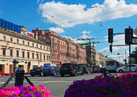 nevsky prospect: ST.PETERSBURG, RUSSIA - AUGUST 3: Nevsky Prospect in August 3, 2012 in St.Petersburg, Russia. Prospect came shortly after founding of city in 18th century. Now it is main street, length of 4.5 km