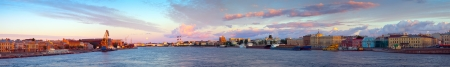 Panoramic view of Neva river in morning. Saint Petersburg, Russia photo