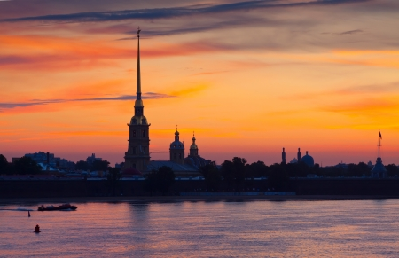 View of St. Petersburg. Peter and Paul Fortress in summer morning photo