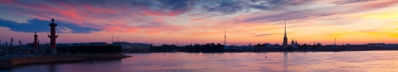 Panorama  of Neva river in dawn. Saint Petersburg, Russia photo