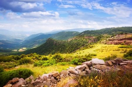 alt: Pyrenees mountains landscape. Alt Urgell, Catalonia Stock Photo